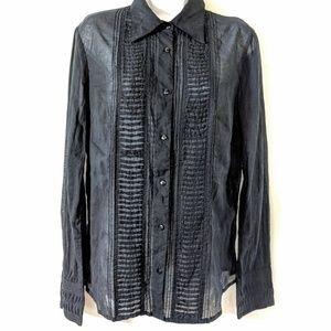 H & M Black Semi Sheer Button-Down Shirt